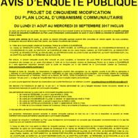 Avis Enquête Publique – Projet de 5ème modification du PLUc